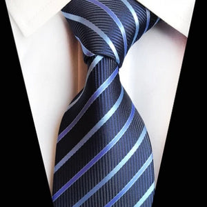 Classy Men Classic Simple Blue Striped Silk Tie - Classy Men Collection