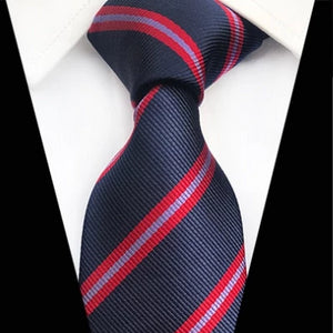 Classy Men Classic Navy Red Striped Silk Tie - Classy Men Collection