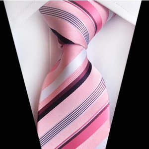 Classy Men Classic Pink Striped Silk Tie - Classy Men Collection