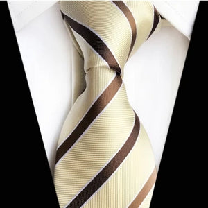 Classy Men Classic Brown Yellow Striped Silk Tie - Classy Men Collection