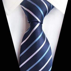 Classy Men Classic Navy Blue Striped Silk Tie - Classy Men Collection