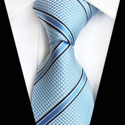 Classy Men Classic Light Turquoise Striped Silk Tie - Classy Men Collection