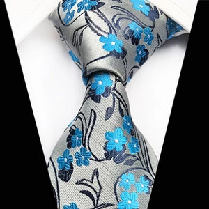 Classy Men Classic Sky Blue Floral Silk Tie - Classy Men Collection