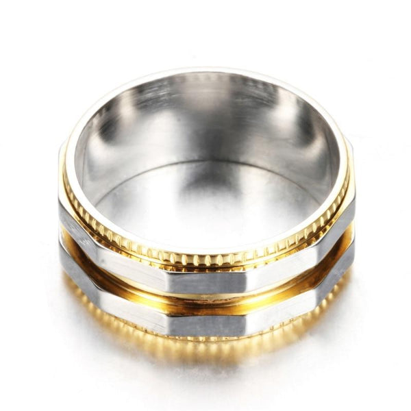Classy Men Gold & Silver Dual Titanium Ring - Classy Men Collection