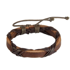Classy Men Brown Leather Lace-up Bracelet - Classy Men Collection