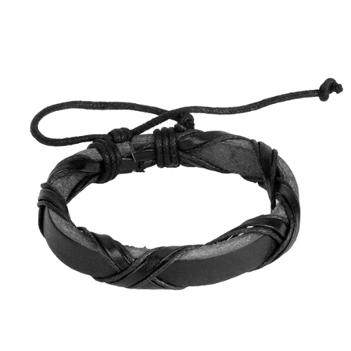 Classy Men Burnt Black Leather Lace-up Bracelet - Classy Men Collection