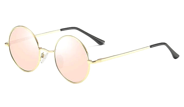 Classy Men Pink Round Polarized Sunglasses
