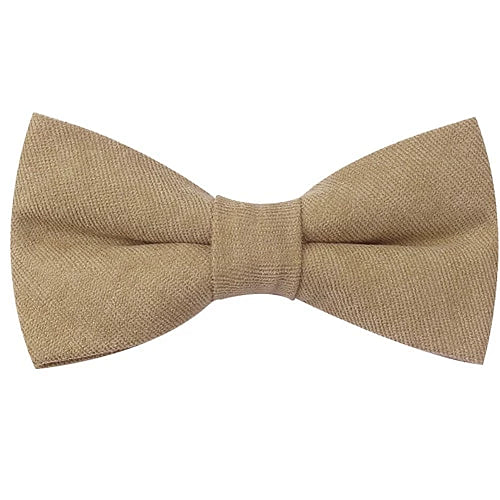 Classy Men Beige Cotton Pre-Tied Bow Tie - Classy Men Collection