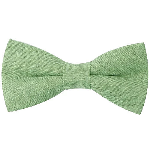Classy Men Pastel Green Cotton Pre-Tied Bow Tie