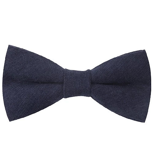 Classy Men Navy Blue Cotton Pre-Tied Bow Tie