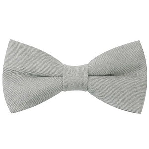 Classy Men Light Grey Cotton Pre-Tied Bow Tie