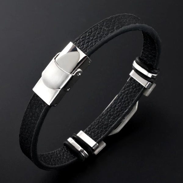 Classy Men Aries Star Sign Leather Bracelet