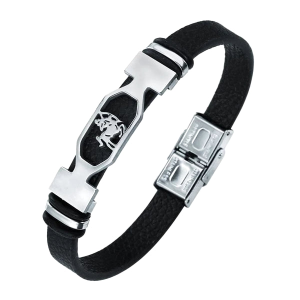 Classy Men Sagittarius Star Sign Leather Bracelet