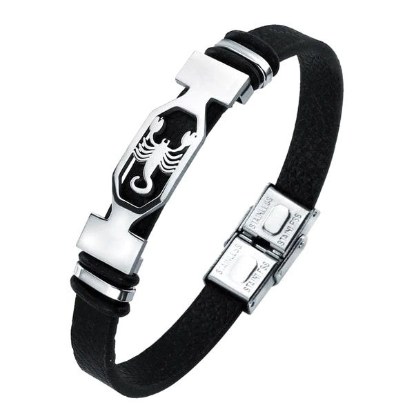 Classy Men Scorpio Star Sign Leather Bracelet