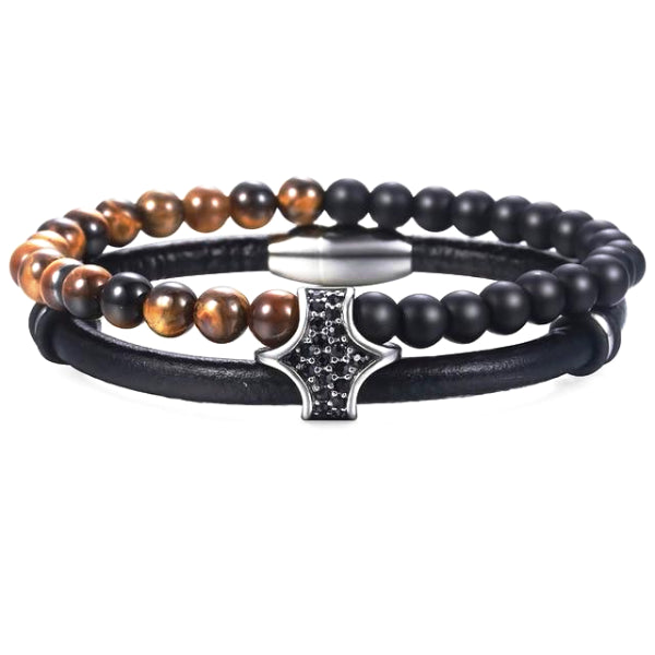 Classy Men Elegant Leather Beaded Bracelet - Classy Men Collection