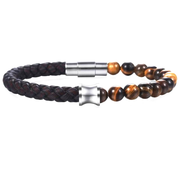 Classy Men Brown Leather Beaded Bracelet - Classy Men Collection