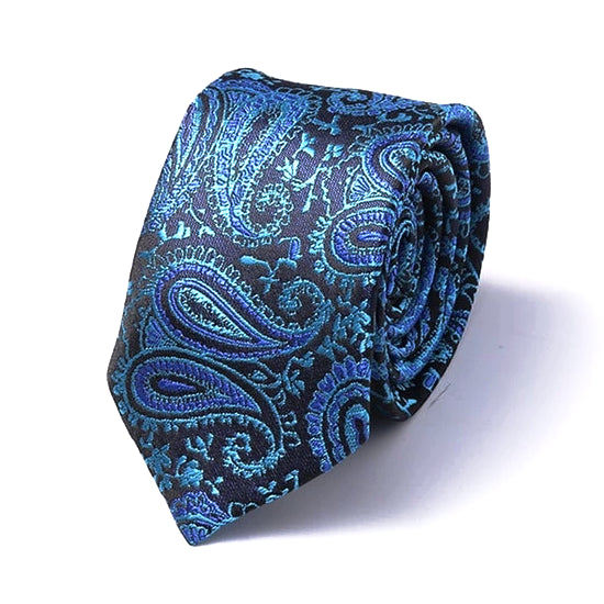Classy Men Blue Paisley Silk Skinny Tie - Classy Men Collection
