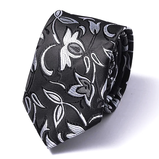 Classy Men Black Flower Silk Skinny Tie - Classy Men Collection