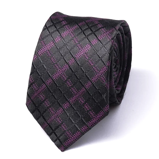 Classy Men Black Purple Checkered Silk Skinny Tie - Classy Men Collection