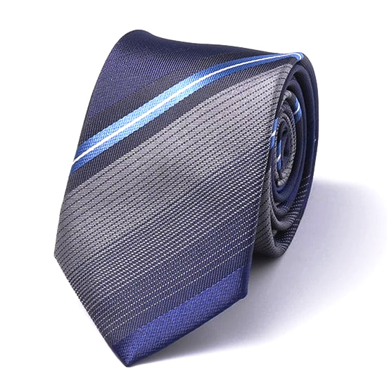 Classy Men Blue Striped Silk Skinny Tie - Classy Men Collection