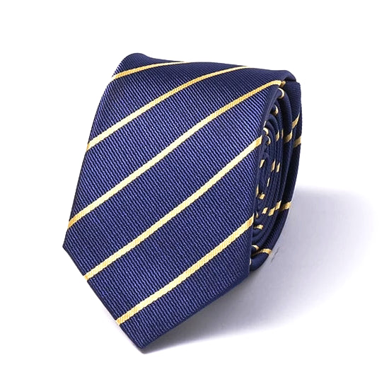 Classy Men Blue Yellow Striped Silk Skinny Tie - Classy Men Collection