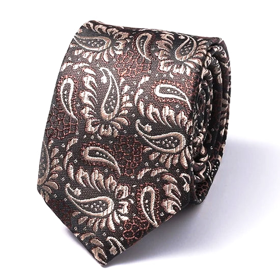 Classy Men Brown Paisley Silk Skinny Tie - Classy Men Collection