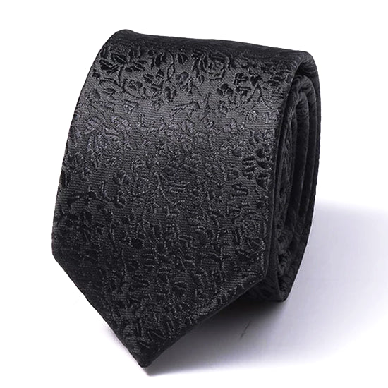 Classy Men Black Rose Silk Skinny Tie - Classy Men Collection