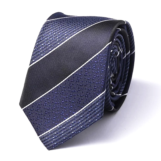 Classy Men Blue Thick Striped Silk Skinny Tie - Classy Men Collection