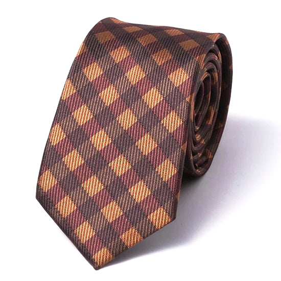 Classy Men Brown Gingham Silk Skinny Tie - Classy Men Collection