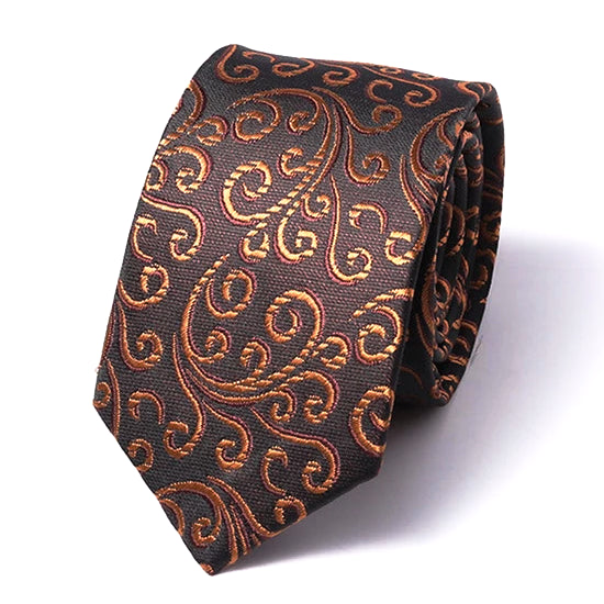 Classy Men Brown Swirly Silk Skinny Tie - Classy Men Collection