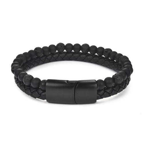 Classy Men Burnt Black Dual Beaded Leather Bracelet - Classy Men Collection