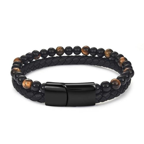 Classy Men Dual Beaded Leather Bracelet - Classy Men Collection