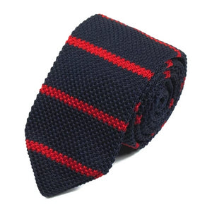 Classy Men Navy Blue Red Knitted Tie