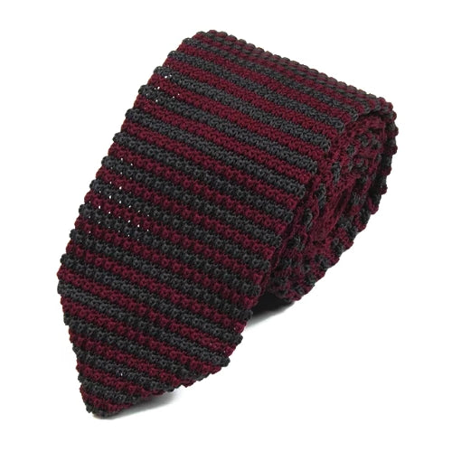 Classy Men Red Brown Striped Knitted Tie