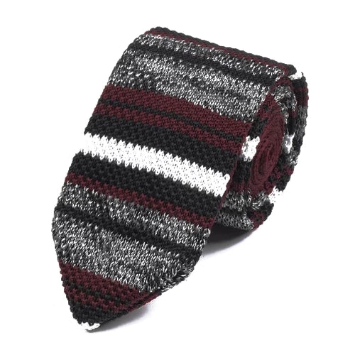 Classy Men Black Red Striped Knitted Tie