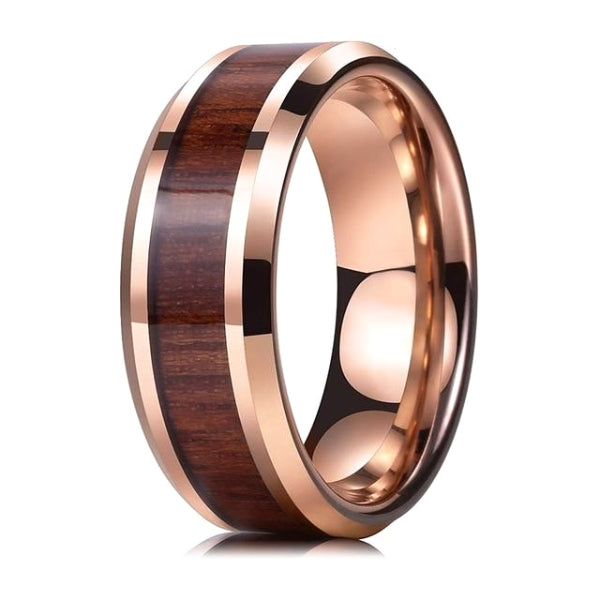 Classy Men Gold Koa Wood Inlay Ring - Classy Men Collection