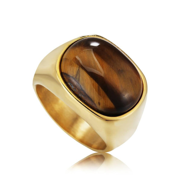 Classy Men Gold Tiger Oval Ring - Classy Men Collection