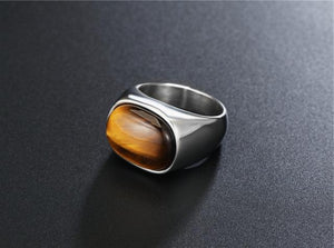 Classy Men Silver Tiger Oval Ring