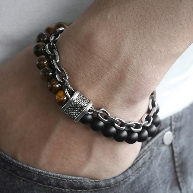 Classy Men Beaded Chain Bracelet - 6 Colors - Classy Men Collection