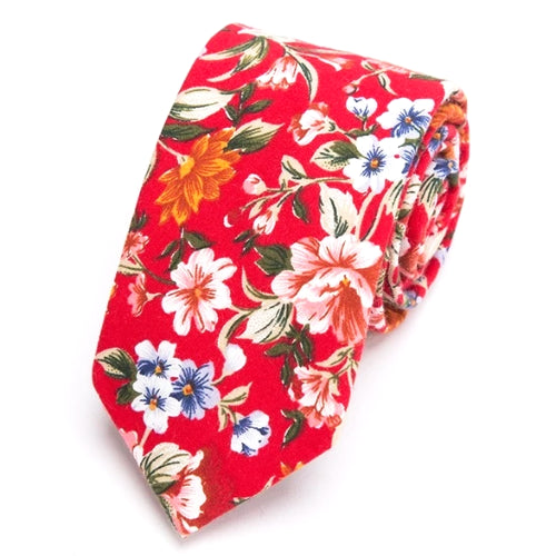 Classy Men Bright Red Floral Skinny Cotton Tie