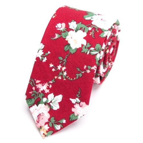 Classy Men Red Floral Skinny Cotton Tie
