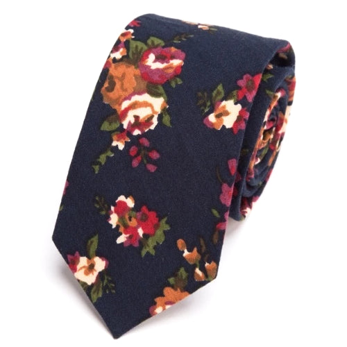 Classy Men Navy Blue Floral Skinny Cotton Tie