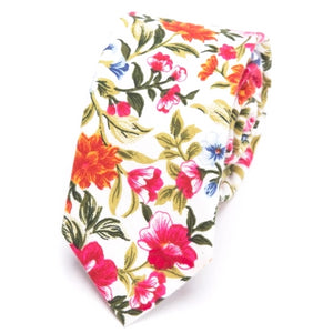 Classy Men Colorful Floral Skinny Cotton Tie