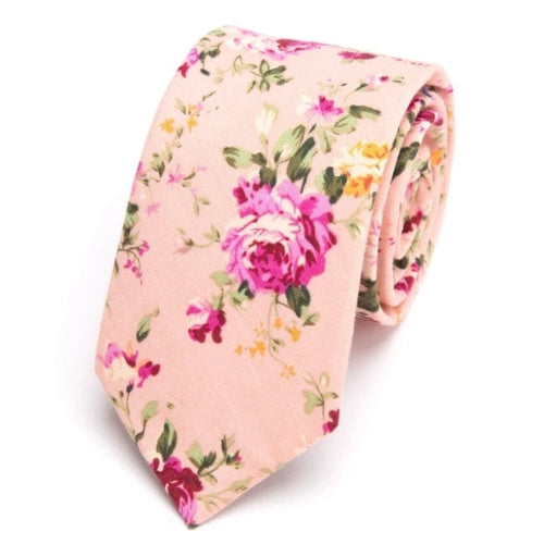 Classy Men Light Pink Floral Skinny Cotton Tie