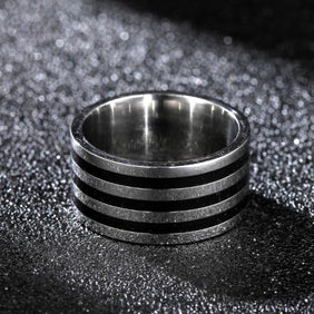 Classy Men Wide Striped Ring