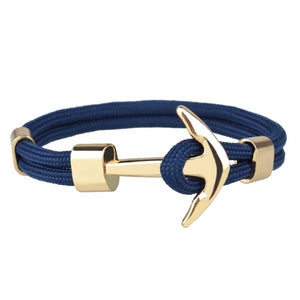 Classy Men Navy Blue Gold Anchor Bracelet