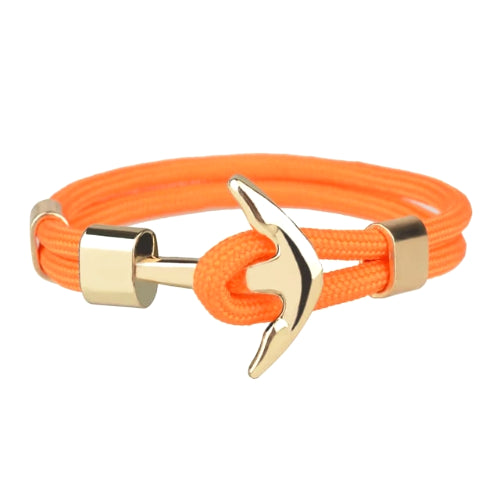 Classy Men Orange Gold Anchor Bracelet