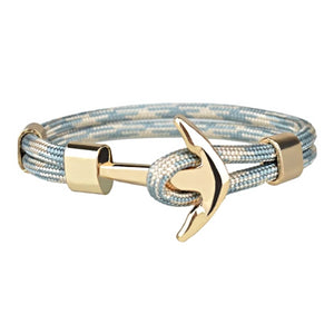 Classy Men Light Blue Gold Anchor Bracelet