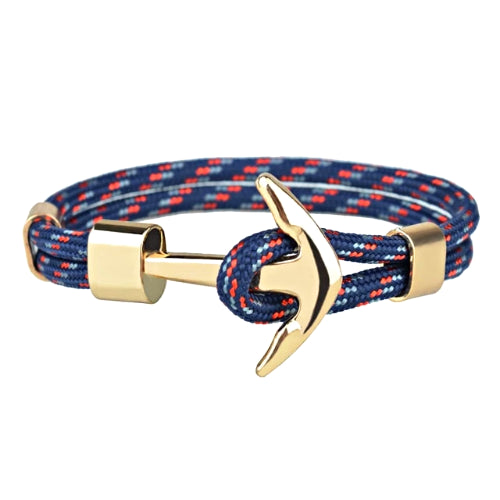 Classy Men Dark Blue Gold Anchor Bracelet