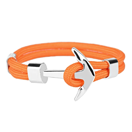 Classy Men Orange Silver Anchor Bracelet